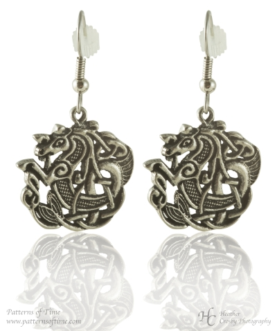 Handcrafted Pewter - Celtic Seahorse Pewter Earrings