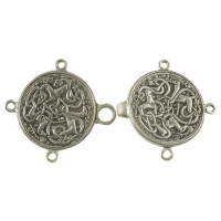 Handcrafted Pewter - Celtic Hart (Stag or Deer) Cloak or Cape Clasp - Pewter