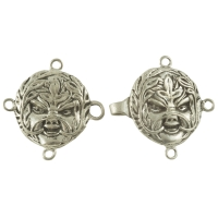 Handcrafted Pewter - Celtic Greenman Cloak or Cape Clasp - Pewter