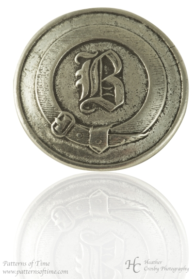 "Hand Cast Pewter Button - 1"" Engraved Letter B Surrounded by a Belt (Card of 4)"