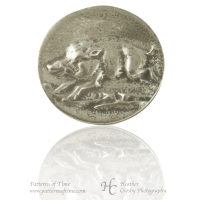 "Hand Cast Pewter Button - 1"" Raging Wild Boar Pewter Buttons (Card of 4)"