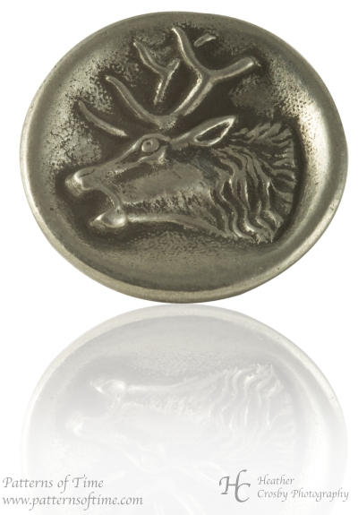 "Hand Cast Pewter Button -1"" Stag Head Pewter Buttons (Card of 4)"