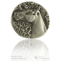 "Hand Cast Pewter Button - 9/16"" Horse Head Pewter Buttons (Card of 4)"