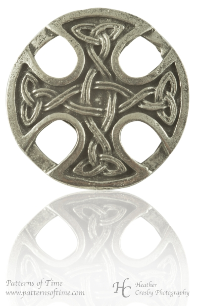 "Hand Cast Pewter Button - 1 1/8"" Nevern Welsh Cross Pewter Buttons (Card of 4)"