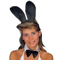 Plush Bunny Ears - Black Headband by Rubies Costume