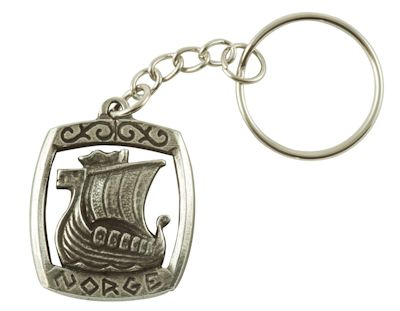 Viking Long Boat Ship Key Ring - Pewter