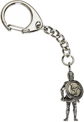Greek Warrior Figure Key-Ring - Pewter