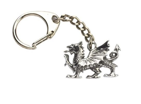 Welsh Dragon Key Ring Cast in Fine English Pewter